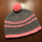 Women's Crocheted Hat Beanie Trendy Gray With Coral Accents Premium Acrylic