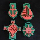 B271 Lot of 4 Rubber Foam Stamps NAUTICAL Sailboat Anchor Compas Helm Crafts