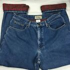 Vintage LL Bean Red Flannel Lined Jeans Size 14 Petite Original Fit