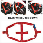 Motorcycle Red Rear Wheel Handlebar Transport Bar Tie Down Strap Strong Hol