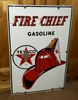 TEX-TASTIC Vintage 1962 Texaco Fire Chief Gas Pump Porcelain Enamel 18