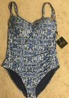 Nip Tuck One Piece Swimsuit Multi Fit Cup Blue NEW Womens Sizes NWT