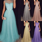 Women's Lace Long Dress Chiffon Bridesmaid Wedding Prom Ball Gown Formal Dresses