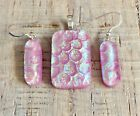 Pink Gold Blue Wavy Pattern Fused Dichroic Art Glass Jewelry Matching Set s