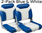 2 Pack of Blue  White Folding Boat Seats Boating Navy Fishing Pontoon Set NEW