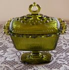 Vintage Indiana Glass Lace Edge Covered Pedestal Footed Rectangular Green Candy