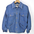 Vintags 80s Bebe Furrrina Denim Jacket Mens M Blue Jean Chore Coat Trucker Biker