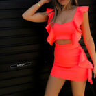 Summer Flare Sleeveless Crop Top and Skirt 2 Piece Set Chic Solid Ruffle Outfit