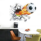 Football Broken Wall Stickers 3D Decal Boys Room Soccer Player Sticker Classic