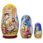 3 Nativity Scene Set Wooden Nesting Dolls 425 Inches