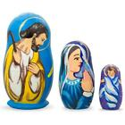 Set of 3 Nativity Scene Ukrainian Wooden Nesting Dolls 425 Inches