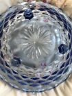 Vintage Indiana Blue Glass Tri-Footed Whitehall Colony Salad Fruit Bowl