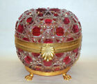 HUGE Amazing Vtg FRENCH Cranberry to Clear Baccarat Design Hinged Box Bronze