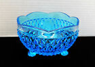 Vintage Indiana glass blue diamond point  3 Footed candy dish bowl