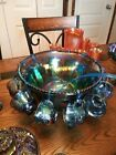 Indiana Harvest Grape Style Carnival Glass Set of Punch Bowl and 12 Cups