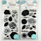 Hampton Art Lot Of 2 Clear Stamp Sets Layering Rose  Flower Amaze Floral Words