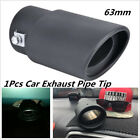 Black 63mm Stailess Steel Car Exhaust Pipe Inlet Tips Muffler Pipe Tail Throat