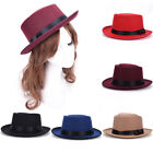Men Women Vintage Boater Sailor Wide Brim Fedora Felt Trilby Flat topped Hat VvV