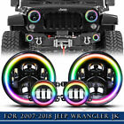 DOT For Jeep Wrangler JK 2007 2017 7 Hi Lo Halo RGB LED Headlights Fog lights