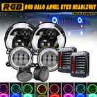 Fit 07 2017 Jeep Wrangler JK Halo LED Headlight DRL Fog Light Combo w Turn+Tail