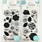 Hampton Art Lot Of 2 Clear Stamp Sets Layering Rose  Flower Joy Floral Words