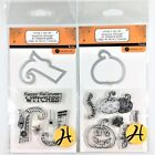 Hampton Art Lot Of 2 Clear Stamp  Die Sets Happy Halloween Witches  Pumpkin