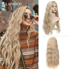 Lace Front Natural Wavy Blonde Long Wave Wigs Mix Synthetic Resistant Fiber Hair