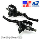 2 x 22mm Motorcycle Master Cylinder Hydraulic Brake Pump Clutch Levers Reservoir