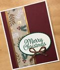 Handmade Merry Christmas Holiday Holly Berries Wishes Greeting Card Stampin Up