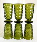 Indiana Whitehall Cubist Glasses Set of 6 Mint Olive Avocado Fall Thanksgiving
