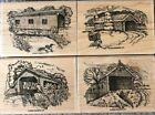Stampin Up Rubber Stamp Set CHANGING SEASONS Covered Bridges Birds Trees