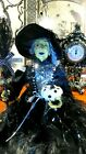 HALLOWEEN WITCH DOLL W BROOM JEWELS PUMPKIN FEATHERS 23 BL WHITE SITTER