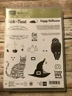 Stampin Up Spooky Cat Photopolymer stamp set EUC RETIRED Owl Witch Hat Rat
