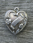 VINTAGE STERLING SILVER PUFFY HEART CHARM I Love U Banner with Flowers