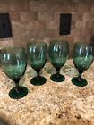 Set Of 4 Vintage Libbey Vintage Juniper Emerald Green Water Goblet Glasses
