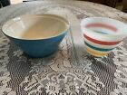 2 Vintage Mixing Bowls Larger Blue And Fire King Stripped Bowl Glass Pottery