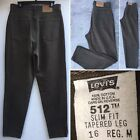Vintage Levis 512 Jeans Slim Fit Tapered Leg High Waist Green USA 16 34 Waist