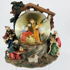 Christmas Nativity Snow Globe Music Box Manger Plays Silent Night PRISTINE
