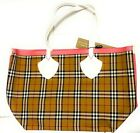 New Burberry Large Giant Reversible Tote Bag Authentic White Pink Bright Red