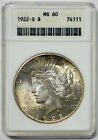 1922 S 1 PEACE SILVER DOLLAR COIN ANACS MS 60 GREAT LUSTER UNDER GOLD TONING