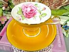AYNSLEY tea cup and saucer pink cabbage rose corset teacup yellow England 1920s