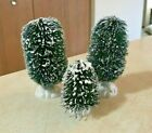 (3) LEMAX CHRISTMAS VILLAGE OVAL SCULPTED EVERGREEN PINE TREES BUSHES