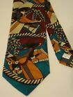 Cowboy Native Western Tie Saddle Rope Hat Feathers Silk Mens Necktie Multi Color