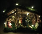 LED Light Handmade House Christmas Nativity Scene Figurine Christ Statue Gifts