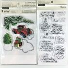 Recollections Lot Of 2 Clear Stamp Sets Die Christmas Truck  Holiday Wishes