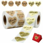 1500 Thank You Stickers Gold Foil Kraft Paper Heart Shaped Round Wedding Seals