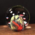Vtg Glass Paperweight Large Sphere Art Glass Crystal Ball Fish PRIORITY MAIL