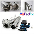 25inch 63mm Exhaust Electric Exhaust Cut Out Dual Valve Y Adapter Pipe w Remote
