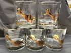 Couroc Of Monterey 22K Gold Roadrunners 5 Double Old Fashioned Glasses Vintage
