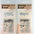 Hero Arts Stamp  Cut Lot Of 2 Clear Stamp Die Sets Happy  Congrats Messages